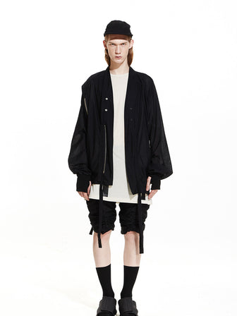 BLACK OVERSIZED GAUZE COTTON BOMBER JACKET - HAMCUS