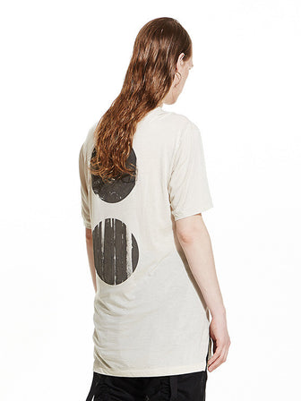 00 DISTRESSED MATTE ROUND PRINTED TENCEL COTTON TEE / SAND - HAMCUS