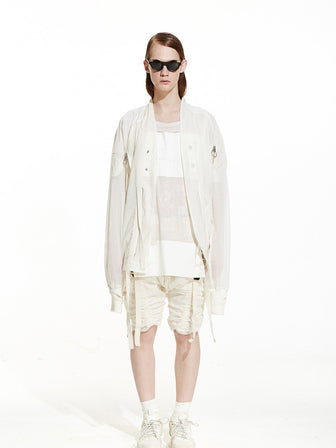 WHITE OVERSIZED GAUZE COTTON BOMBER JACKET - HAMCUS