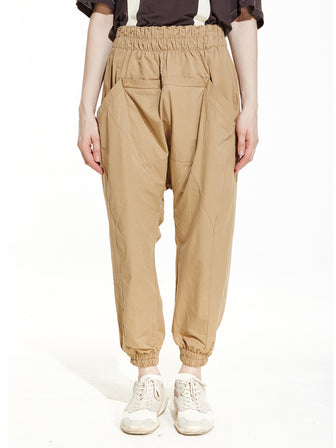CEO-CUT DROPCROTCH LOUNGE OVERSIZED JOGGER PANTS / SAND