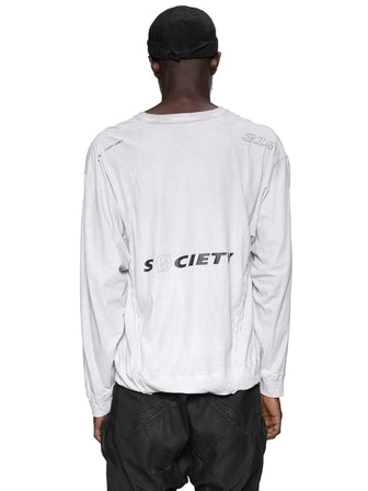 """S0CIETY"" GEO-CUT PRINTED T-SHIRTS / DIRT WHITE"