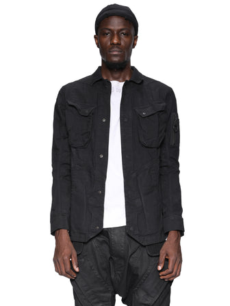 DARK ASPHALT DYED HEAVY DENIM TRUCKER JACKET
