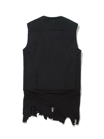 GEO-CUT DESTROYED DROP-TAIL HEMPADDED VEST