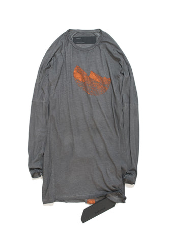 PRINTED LONG SELEEVE TEE / VOLCANIC GRAY DYED