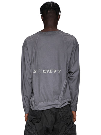 """S0CIETY"" GEO-CUT PRINTED T-SHIRTS / GRAY"