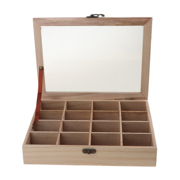 Hinged Lid Keepsake Storage Box-Clear Top Divider Display Box-27*21*5 cm - Boxes - Timberack - timberack.com