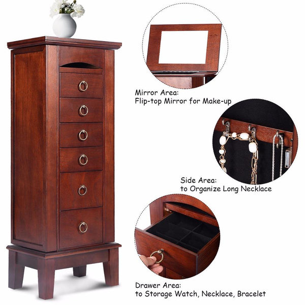 Vintage Jewelry Cabinet Armoire-Jewelry Organizer Chest-26.67*40.13*101.6 cm - Cabinets - Timberack - timberack.com
