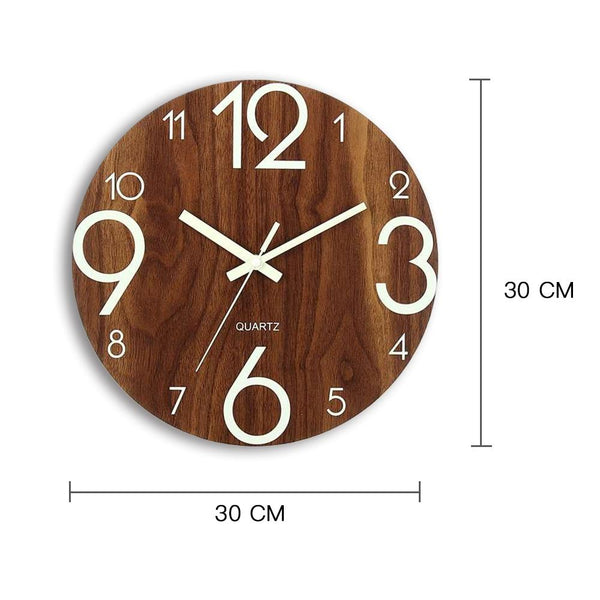 Glowing Modern Style Wall Clock-Wooden Wall Clock-30*30 cm - Wall Accessories - Timberack - timberack.com