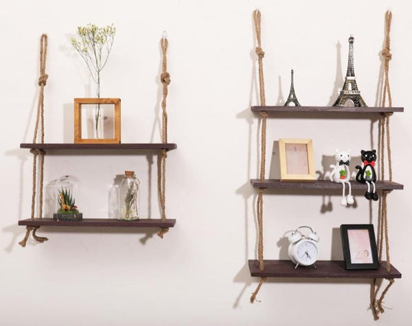 Tiered Rustic Rope Storage Shelves-Floating Organizer Shelving-1 Tier, 2 Tier, 3 Tier - Wall Accessories - Timberack - timberack.com