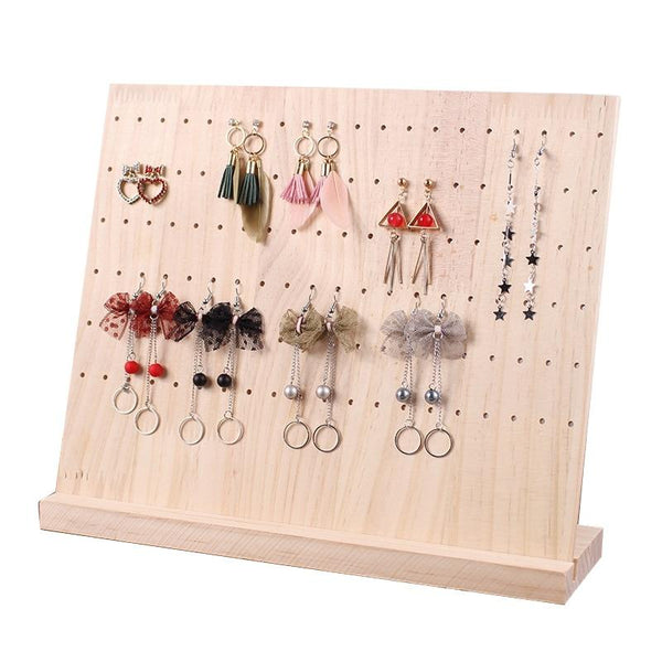 Jewelry Display Stand-Earring Necklace Organizer Stand-120 Holes, 19 Hanging Slots - Stands - Timberack - timberack.com