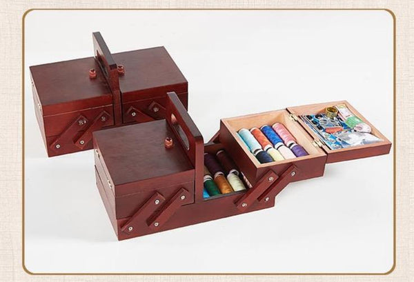 Retro Folding Sewing Box-Sewing Organizer Box-24*13.5*10 cm - Boxes - Timberack - timberack.com