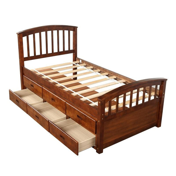 Solid Wood Storage Bed-6 Drawer Organizer Bed-Twin Size - Beds - Timberack - timberack.com