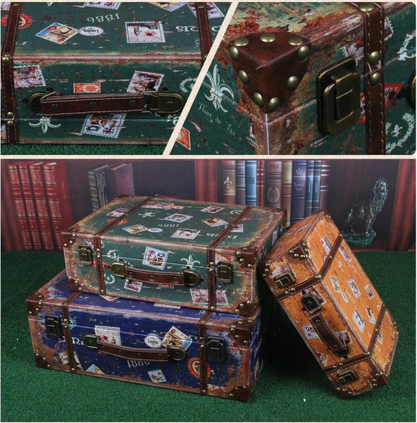 Vintage Suitcase Lookalike Keepsake Storage Box-American Country Style-Small, Medium, Large - Boxes - Timberack - timberack.com