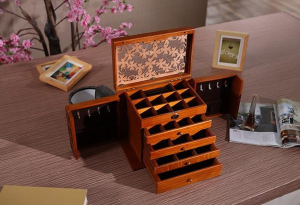 Retro Jewelry Keepsake Storage Box-Jewelry Organizer Case-34*23*25 cm - Boxes - Timberack - timberack.com
