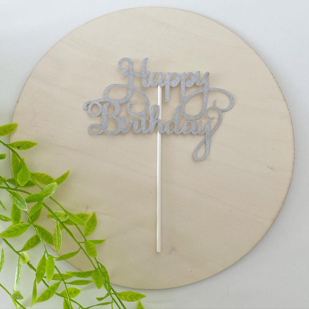 Silver Glitter Happy Birthday Cake Topper