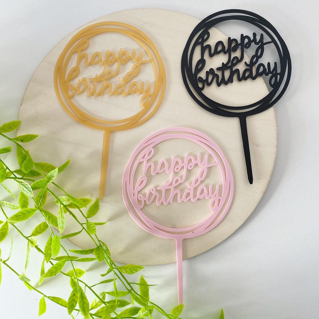 Circular Happy Birthday Cake Topper