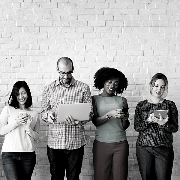 Unplugging 101 diverse people all on their devices