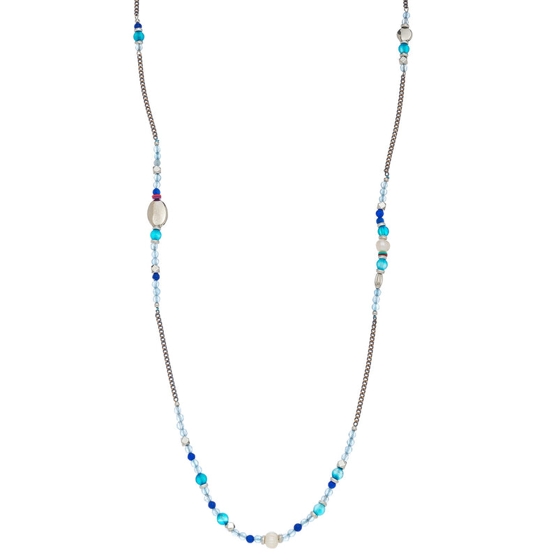 Beaded Light Blue/Multi Necklace