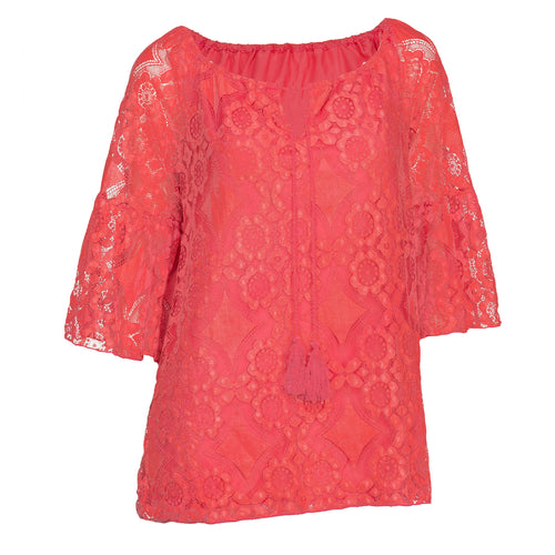 Tie Neck Lace Top With Bell Sleeves