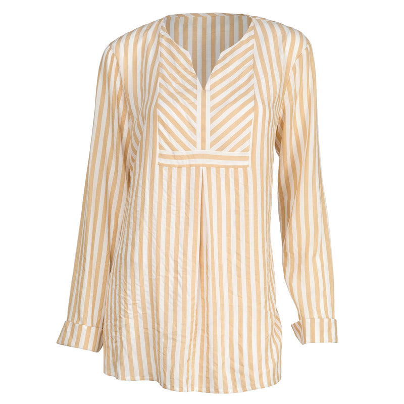 Pleated Front Long Sleeve Striped Shirt
