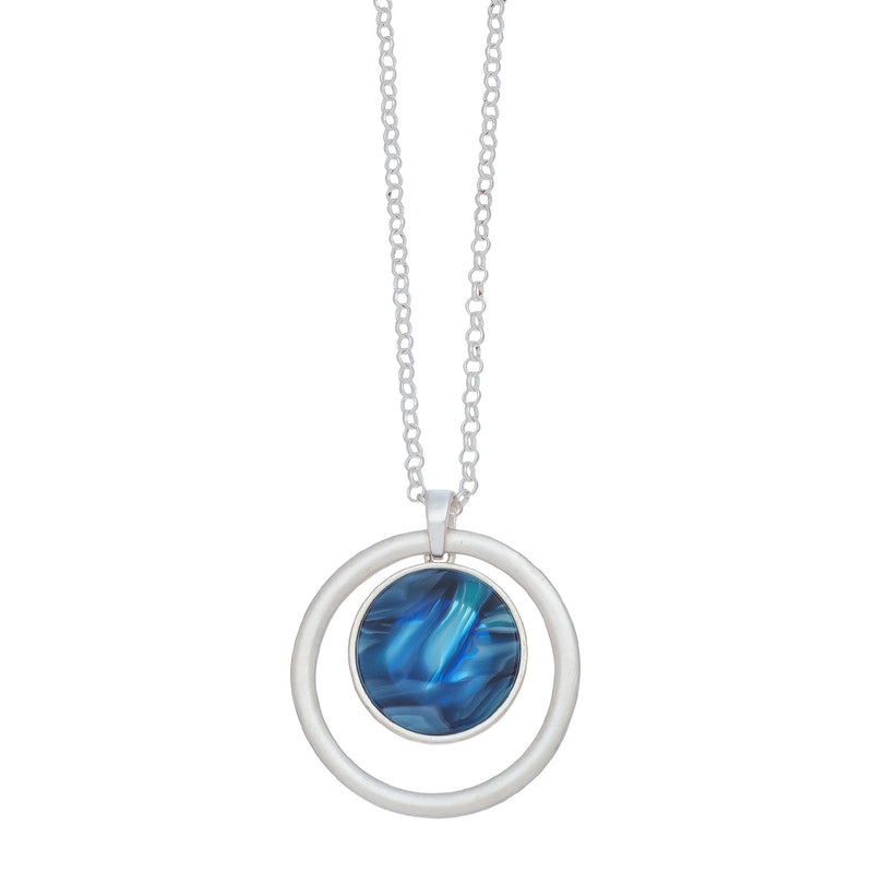 Marbleized Disc Silver Pendant Necklace