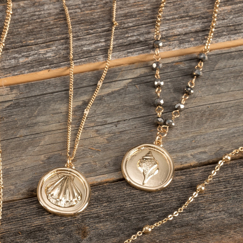 Crystal Shell Coin Necklace