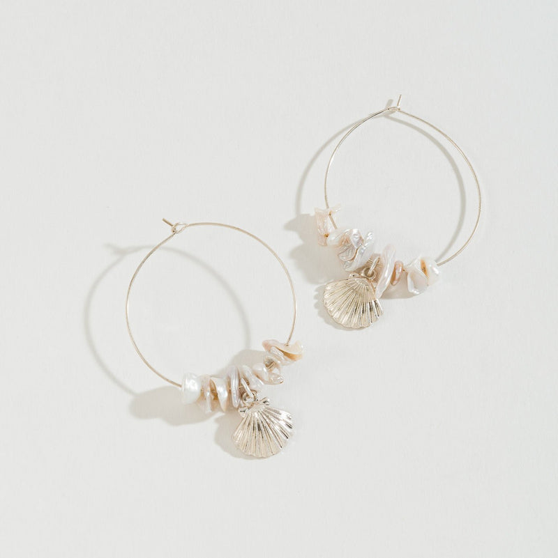SHELL CHARM AND SHELL BEADED HOOP EARRING