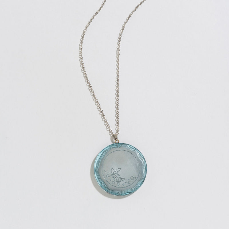 PAINTED TIDE POOL SILVER PENDANT NECKLACE