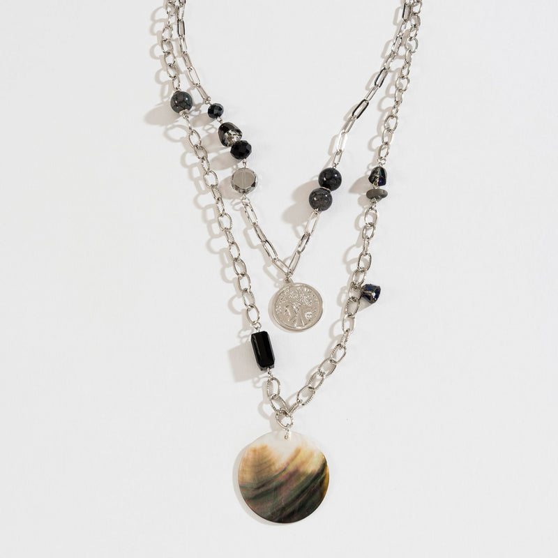 GENUINE SHELL LAYERED COIN NECKLACE