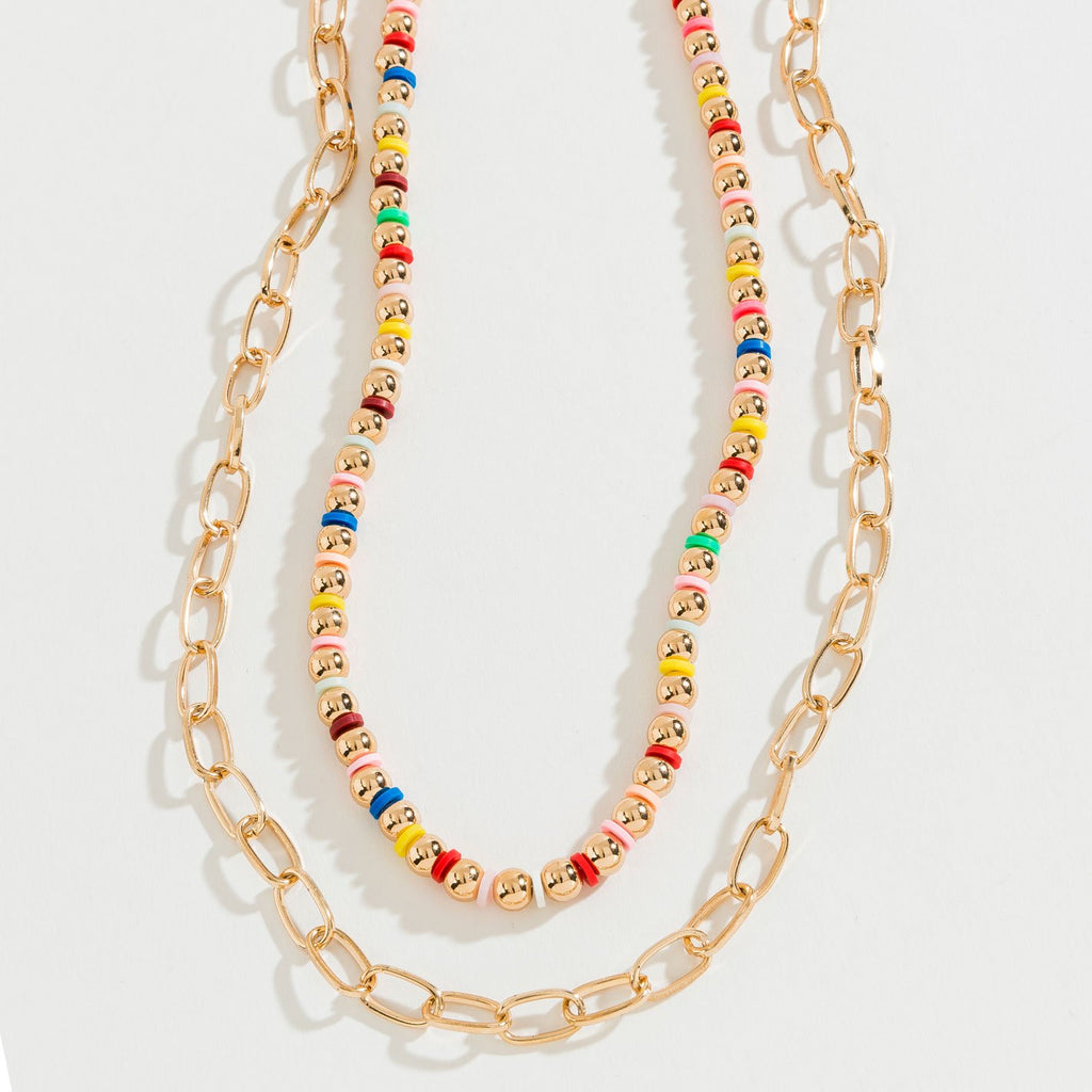 RAINBOW BEADED LAYERED GOLD CHAIN NECKLACE