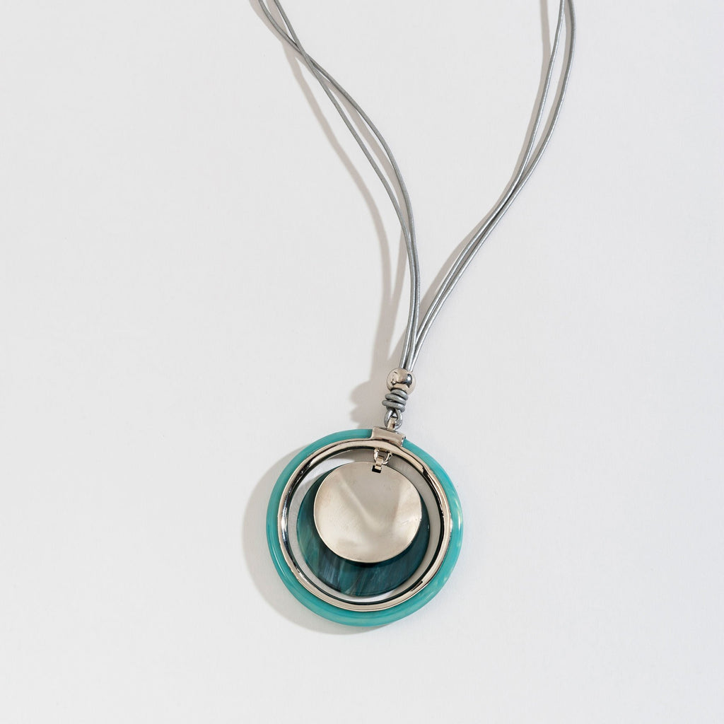 TEAL HAMMERED PENDANT METALLIC CORD NECKLACE