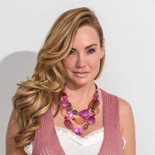 PINK CORD CORAL STATEMENT COLLAR NECKLACE