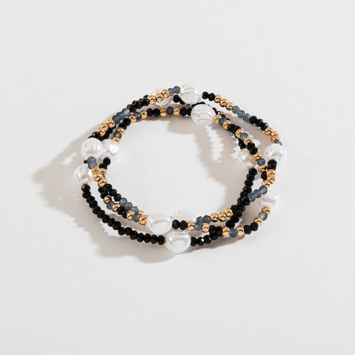 GLASS BEAD AND PEARL LAYERED STRETCH BRACELET