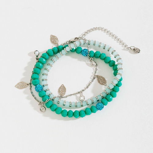 FACETED BEAD CUTOUT LEAF CHARM LAYERED STRETCH BRACELET