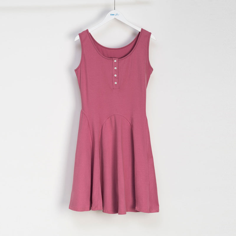 Paneled Mid Length Skater Dress with Buttons