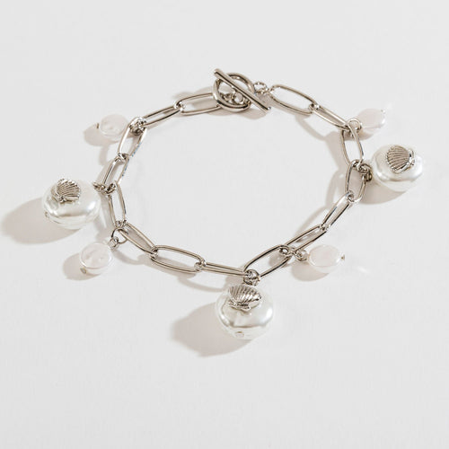 PEARL AND SHELL CHARM BRACELET