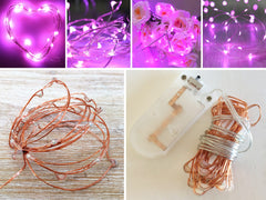 20-LED 2m Seed Light Copper String - Pink
