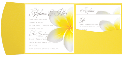 Frangipani Pocket Invitation