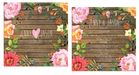 Wooden Watercolour Invitation