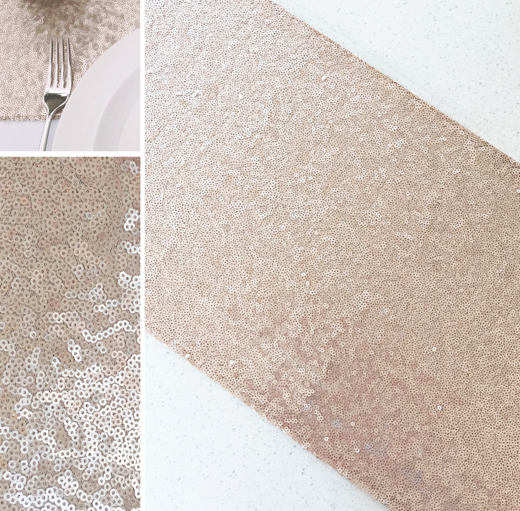 Champagne gold sequin table runner brides best friend for Champagne seguin