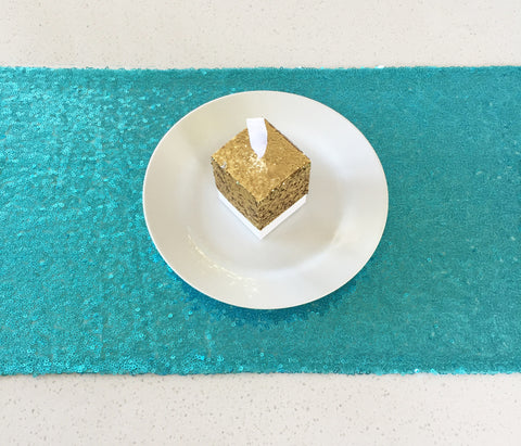 Turquoise Sequin Table Runner