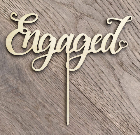 Engagement Wooden Cake Topper