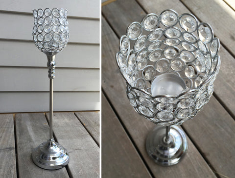 Acrylic Crystal Beaded Candle Holder Centrepiece