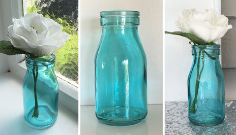 Blue Retro Milk Bottle