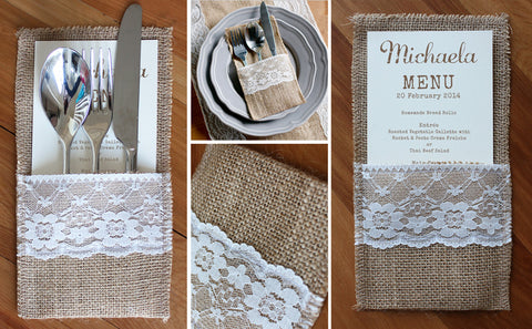 Hessian Cutlery Pocket