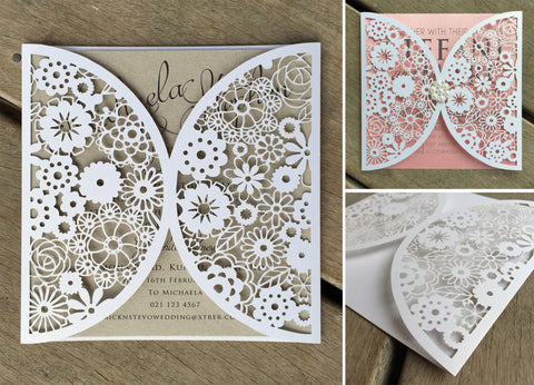 Floral Arch Lasercut Invitation Jacket