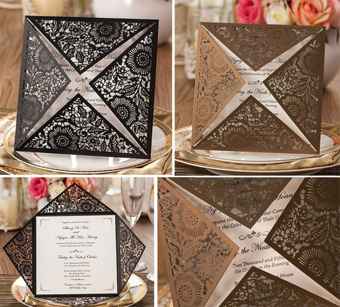 Floral Lasercut Invitation Jacket