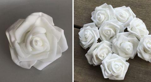 Artificial Foam Rose - White