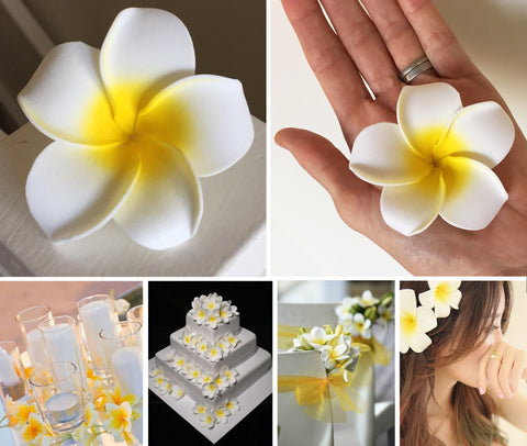 Artificial Foam Frangipani Yellow/White - 7cm