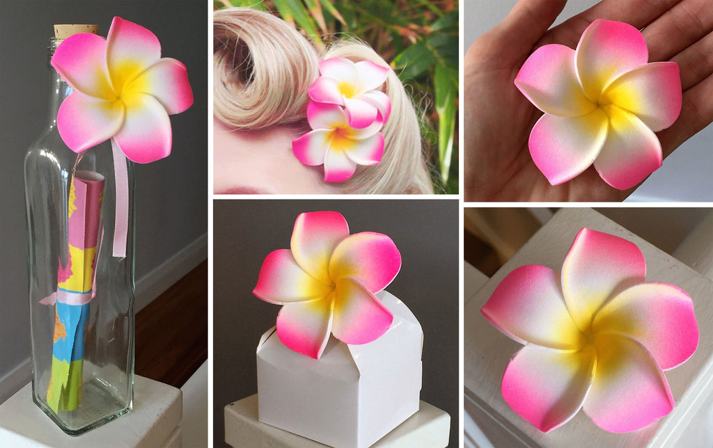 Artificial Foam Frangipani Pink/Yellow/White - 7cm
